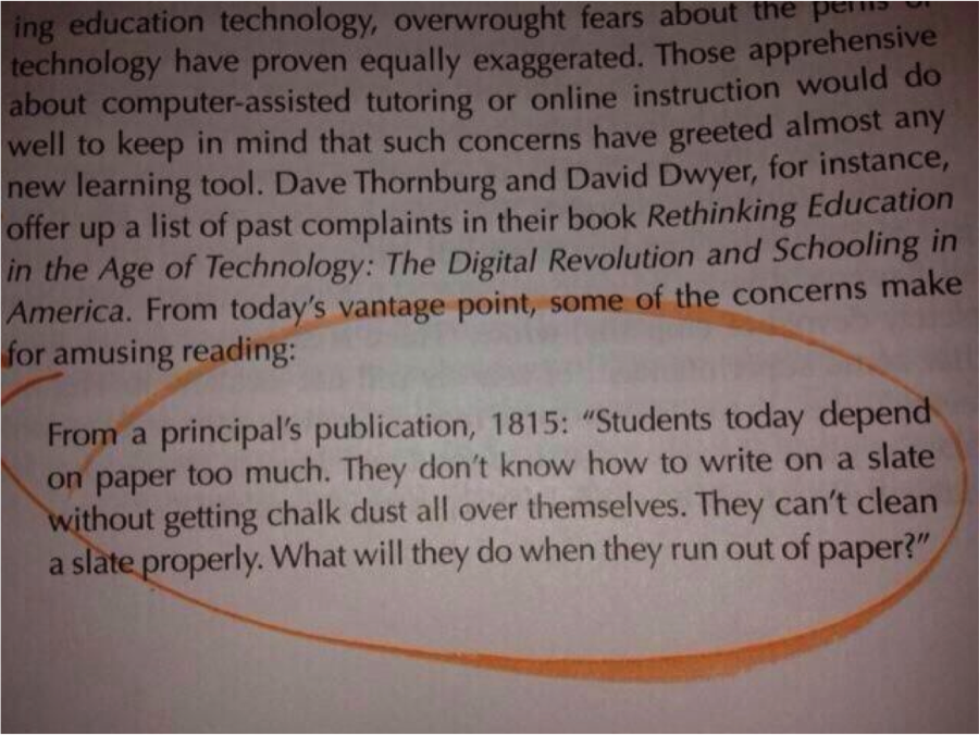 Students today depend on paper too much.