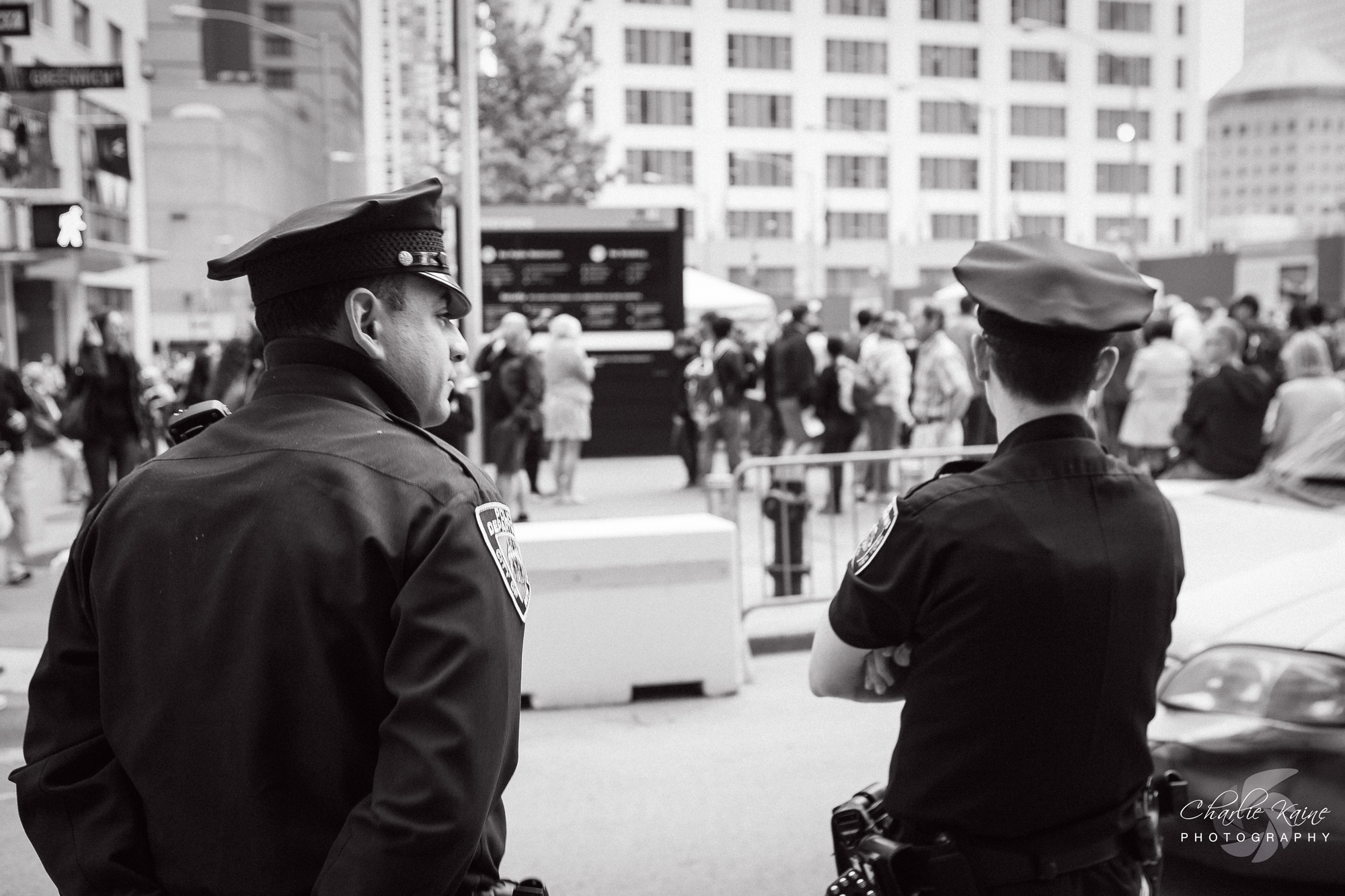 Police are ever present at the 911 Memorial | Charlie Kaine Photography
