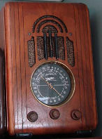 "A favorite of small case radio collectors, a 1938 Zenith model 5S228. Commonly called a ""Cube Radio"". Zenith made a bunch of models in the shape of a square cube. The 5S228 is not a cube models but is considered part of the same family because of its small size. It is really a small tombstone."