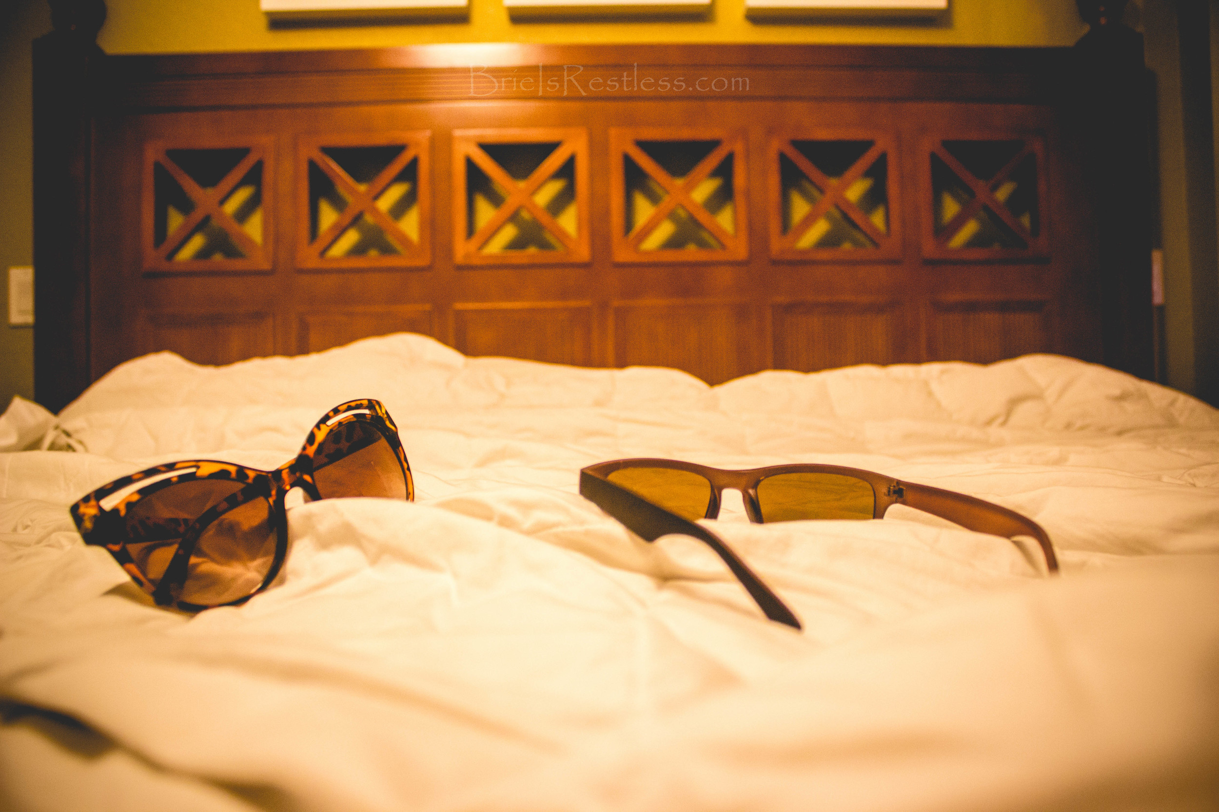Bed, Hotel, Hotel Room, June 2015, Orlando Florida, Sunglasses, Westgate Resort (1 of 1).jpg