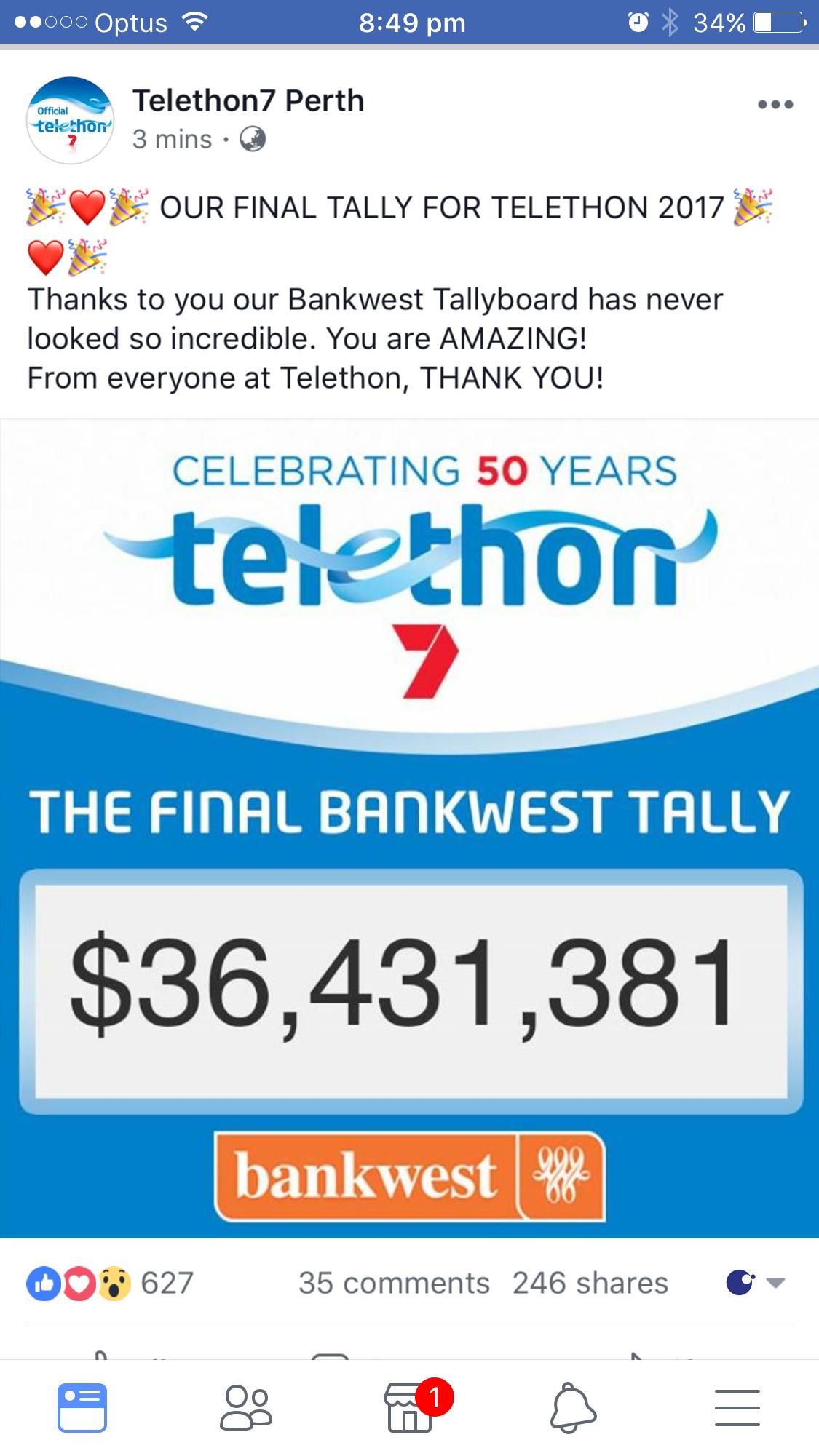 WA you are amazing, smashing last years tally!