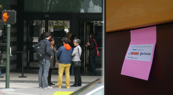 Handing out Post-its at the SFMOMA