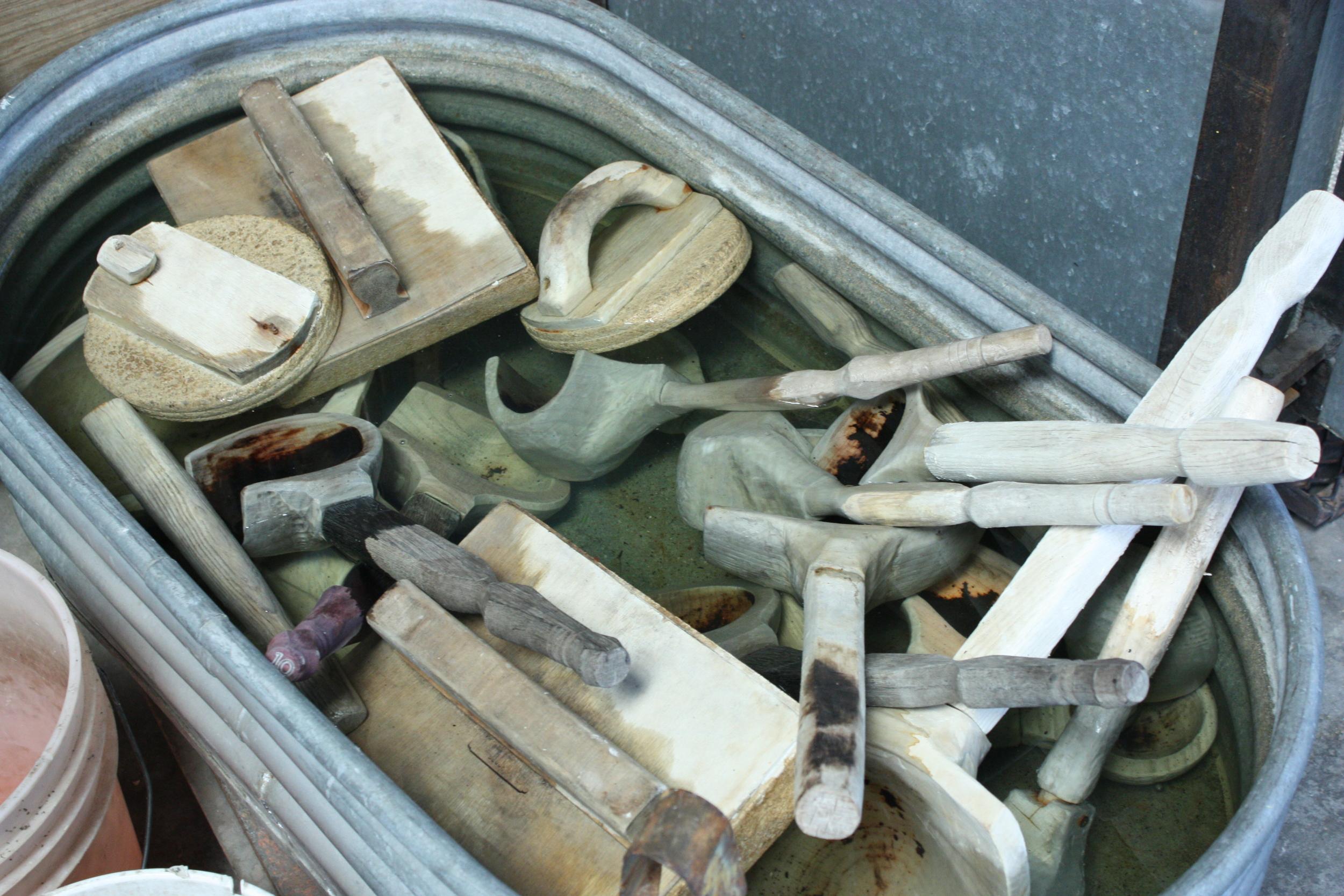 Closeup of the wooden tools.