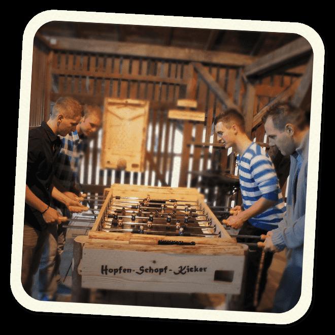 Hopfen Schopf Kicker im GANTER Brau-Erlebnis