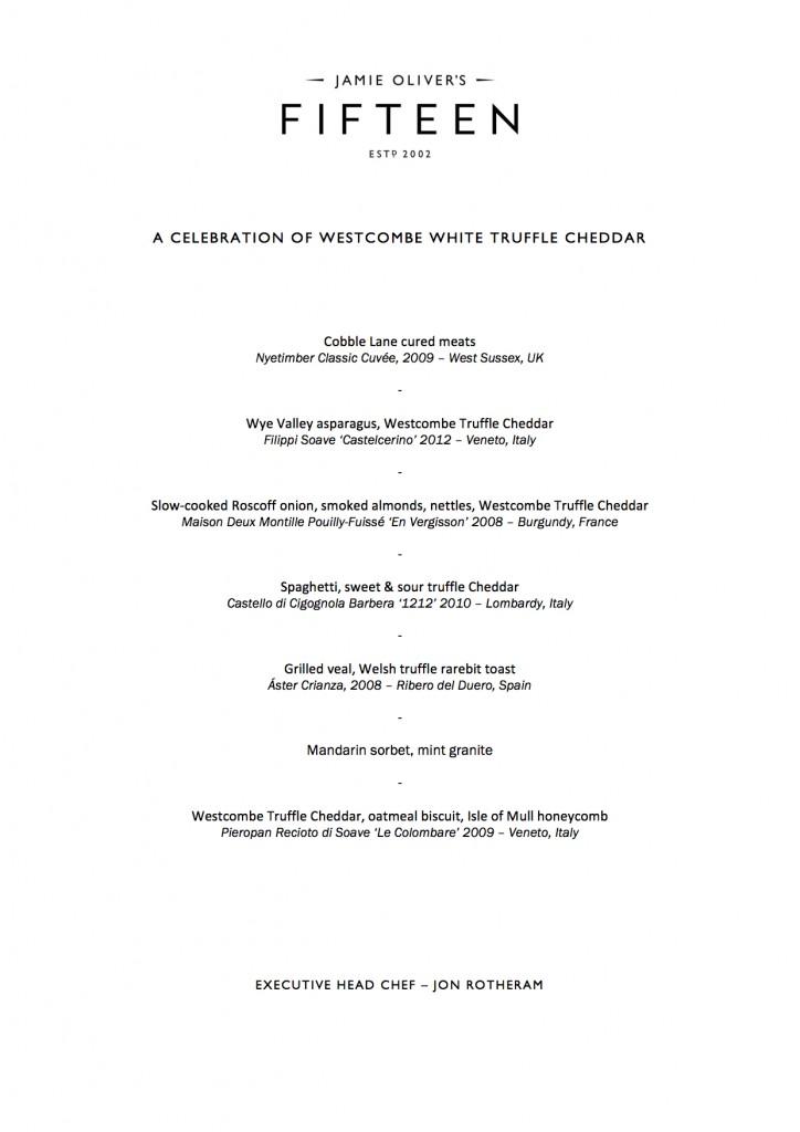 Jon Rotheram's special Westcombe Truffle Cheddar Fifteen menu