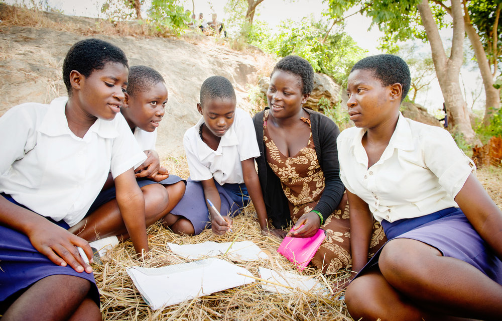 Fatima with her students in rural Malawi. Photo: Eliza Powell/CAMFED