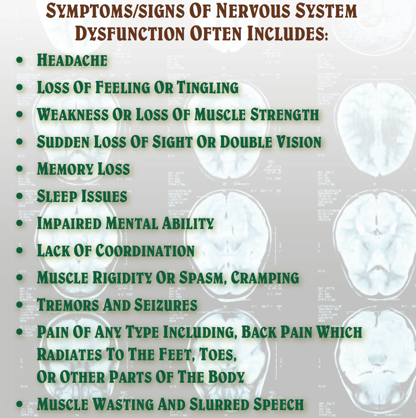 From memory loss to neuropathy and pain, nutrition and natural medicine provides the healing ingredients providing the potential for the nervous system to heal.
