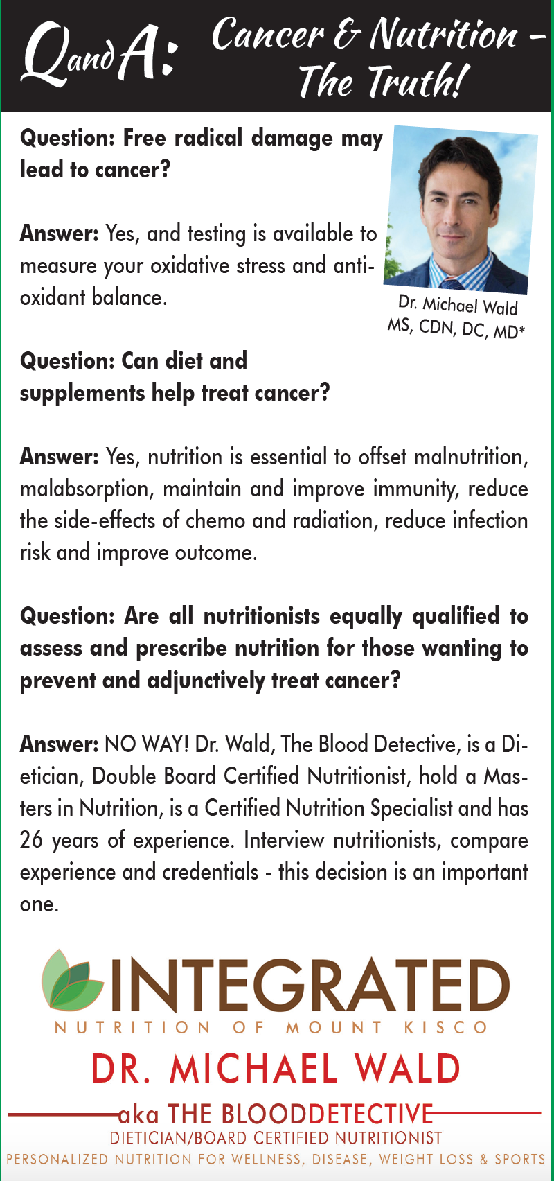Cancer & Nutrition Q and A