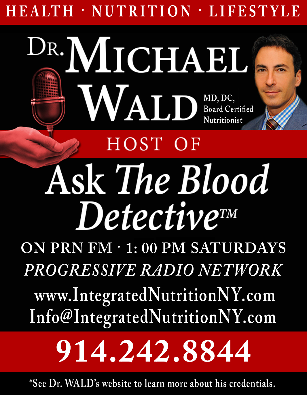 SCHEDULE A FREE 15 MINUTE APPOINTMENT WITH DR. WALD THROUGH OCTOBER 5TH, 2016 - just click here and we will contact you:    www.info@IntegratedNutritionNY.com