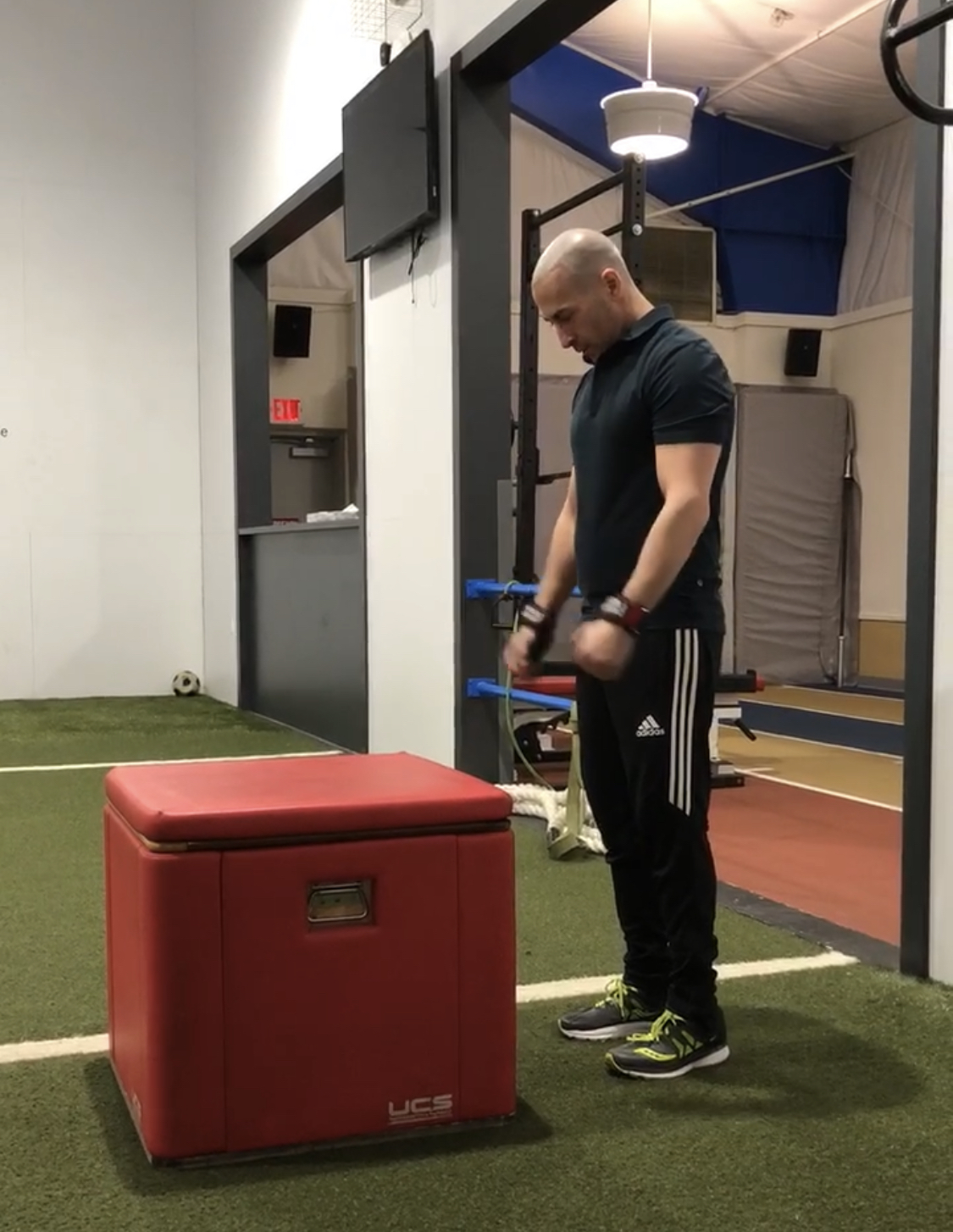 Dr. Wald performing standing vertical jumps for strength and coordination. -
