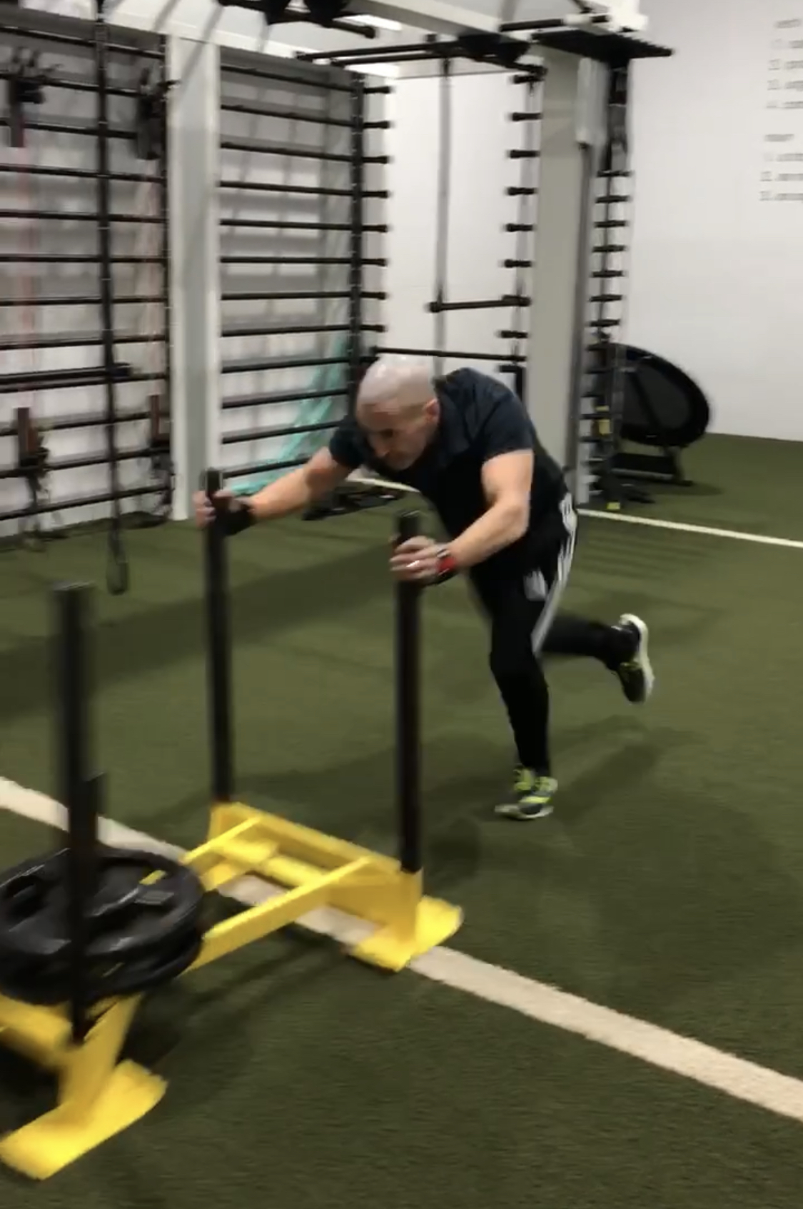 Pushing a weight cart is an extremely effective way to quickly bring aerobic capacity to the next level. Here is Dr. Wald pushing the cart 4 efforts consecutively. -