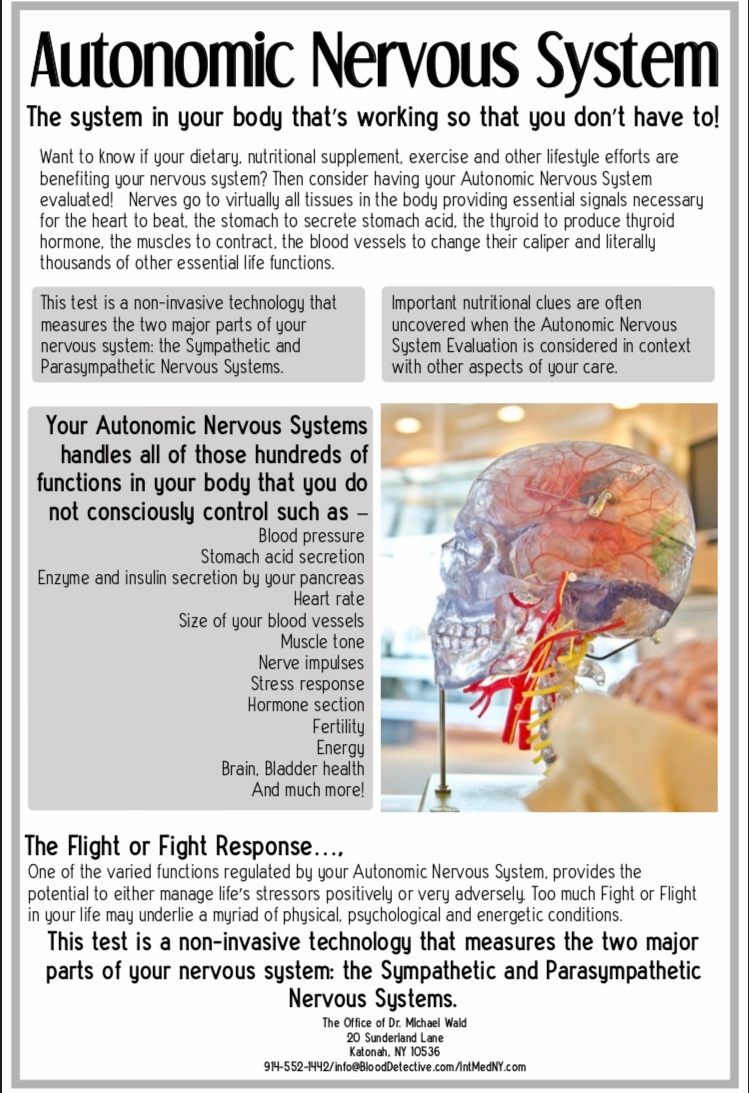 Poster describing the autonomic nervous system and the flight or fight reaction.