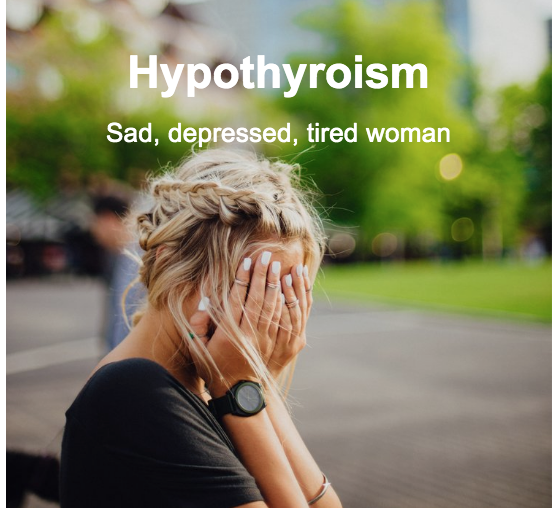 Woman feeling tired and depressed from her hypothyroidism
