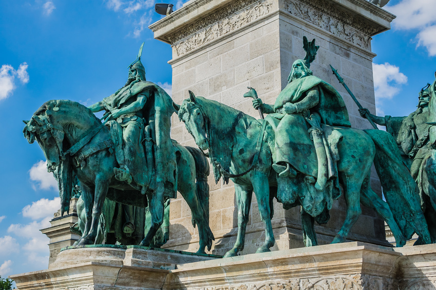 Millennium monument (1894) at Heroes square in Budapest, Hungary