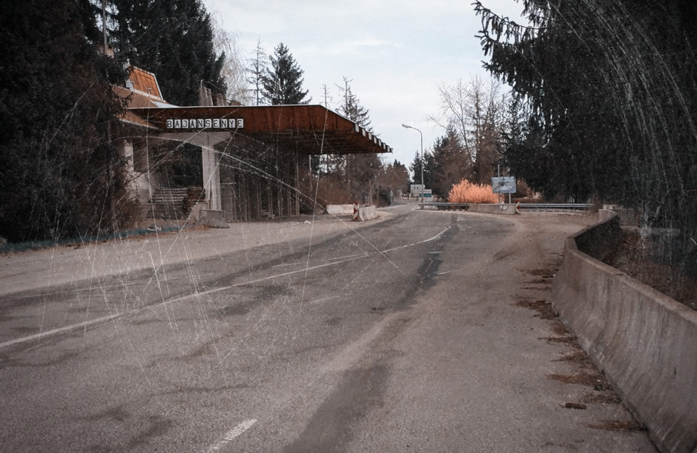 An abandoned checkpoint at the Slovenia–Hungary border.