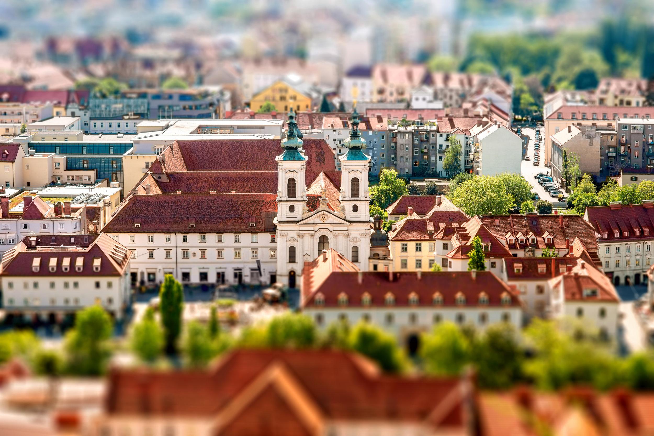 Aerial view on Graz city in Austria. Tilt-shift image technic