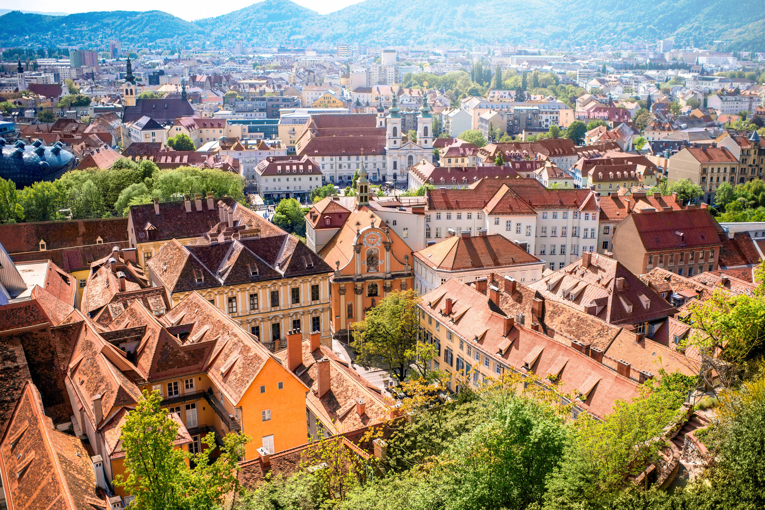 Aerial view on Graz city in Austria