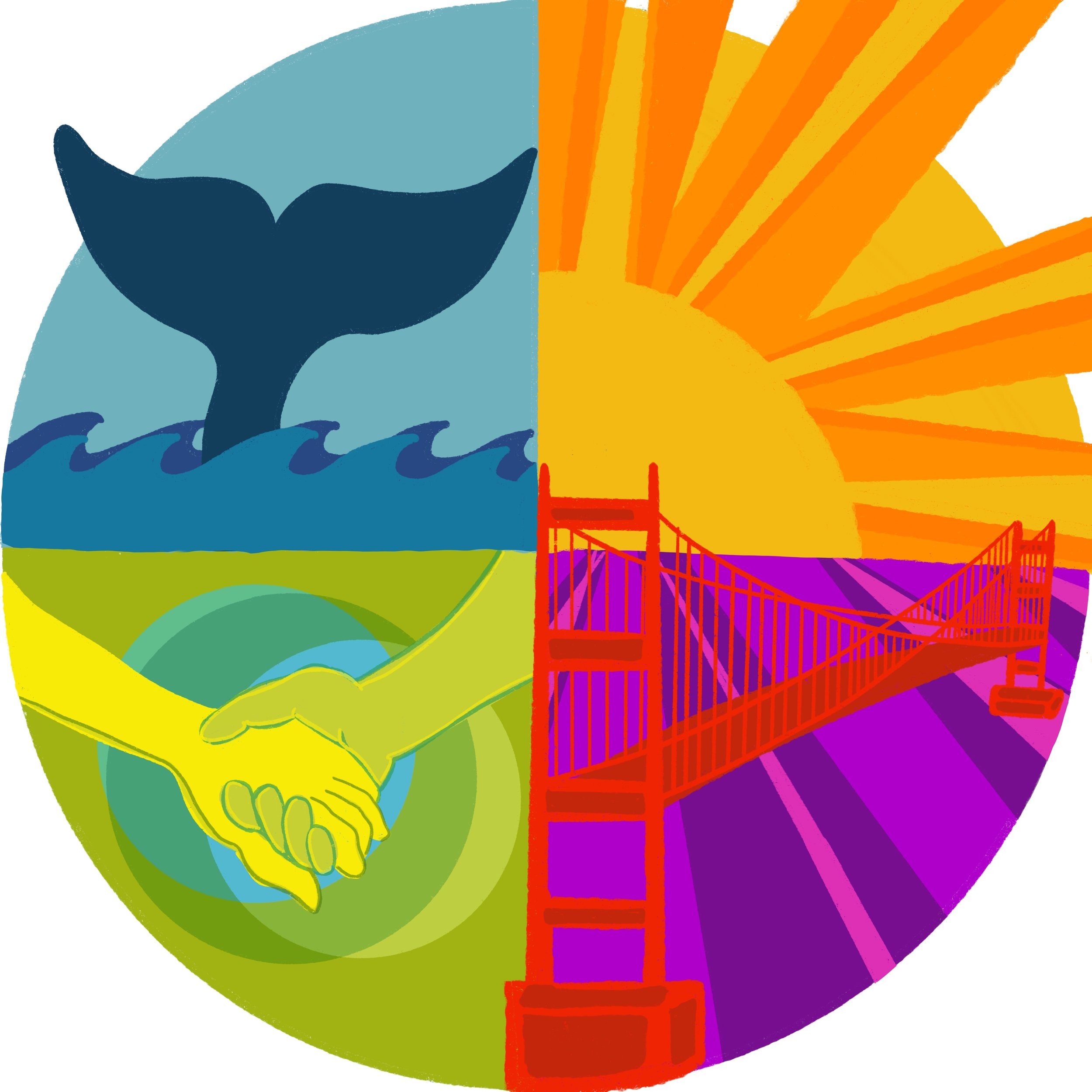 I opted to create a circular presentation to further the more symbiotic relationship these questions meant to me. I also chose to break the boundary of the circle as I see design as a way to break the rules or to upend the expected. Again, I chose illustration to convey the individual question's symbology: whale (who), sun (what), San Francisco (where), and community (why).  What do you think?
