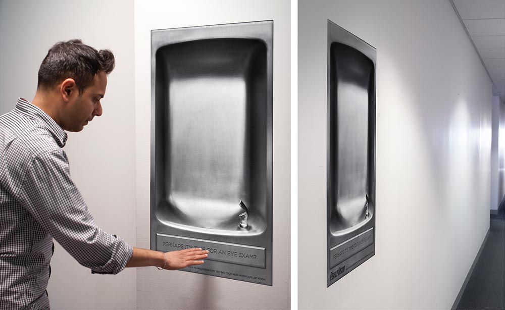 Fake water fountains were placed in malls and gyms nationwide.
