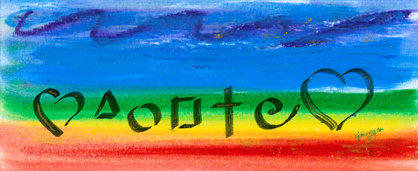 """""""Flow"""" - Oil pastel painting #120019 © 2009 Catherine Jo Morgan, 4 by 10 inches, in archival mat 8 by 16 inches."""