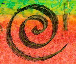 Detail from oil pastel and ink painting #120014 by Catherine Jo Morgan