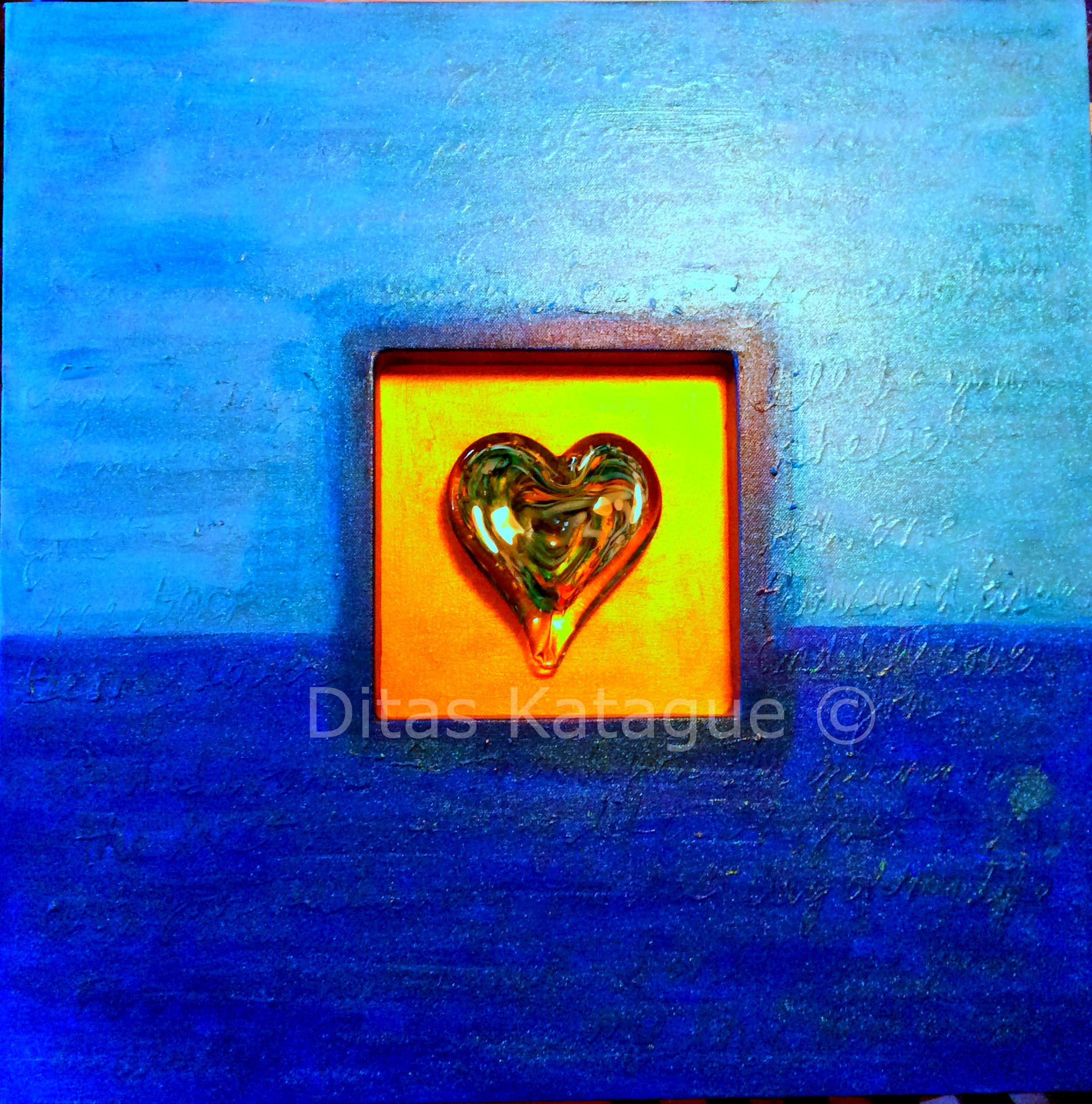 """""""Keep Me in Your Heart"""" 24""""x24"""" with handblown glass"""