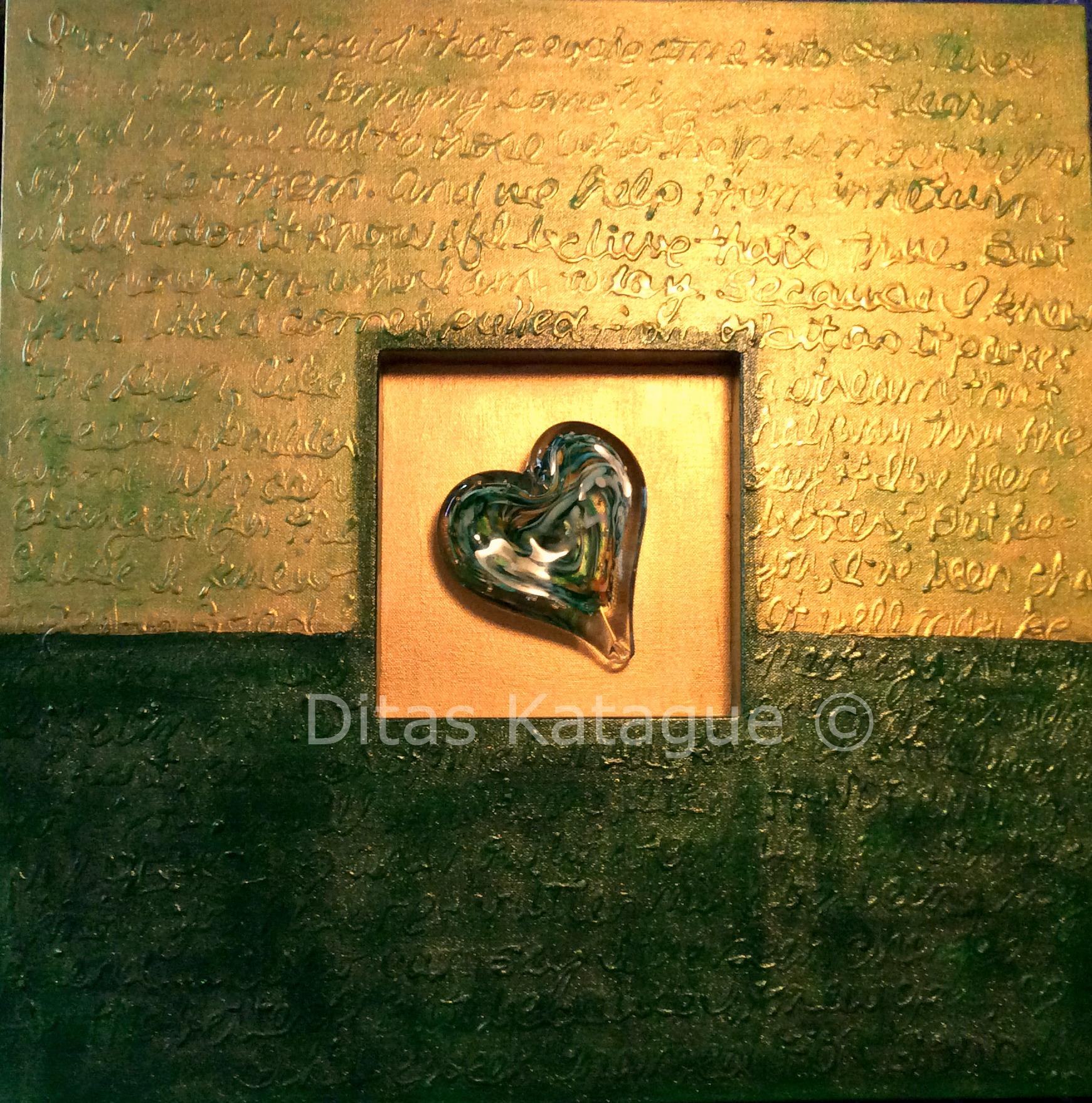 """Handprint on My Heart""  24"" x24"" with handblown glass"