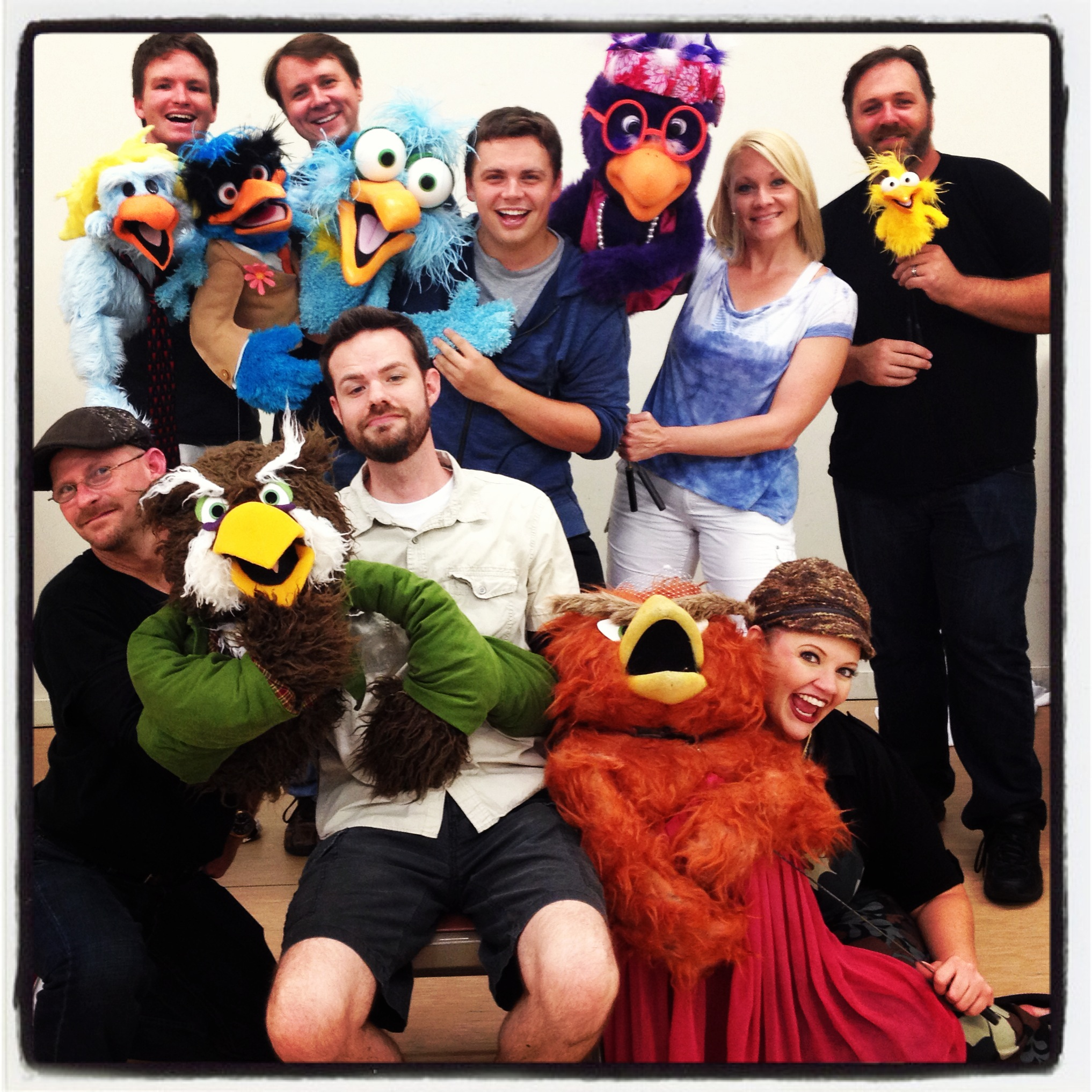 "The cast of ""Bird Call LIVE presents: Mating Season"" in 2013."
