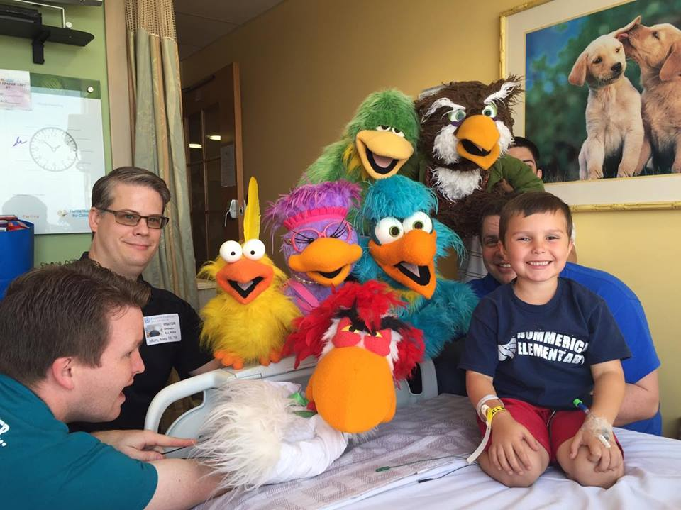 The birds making new friends on their trips to The Florida Hospital in the Walt Disney Pavilion.