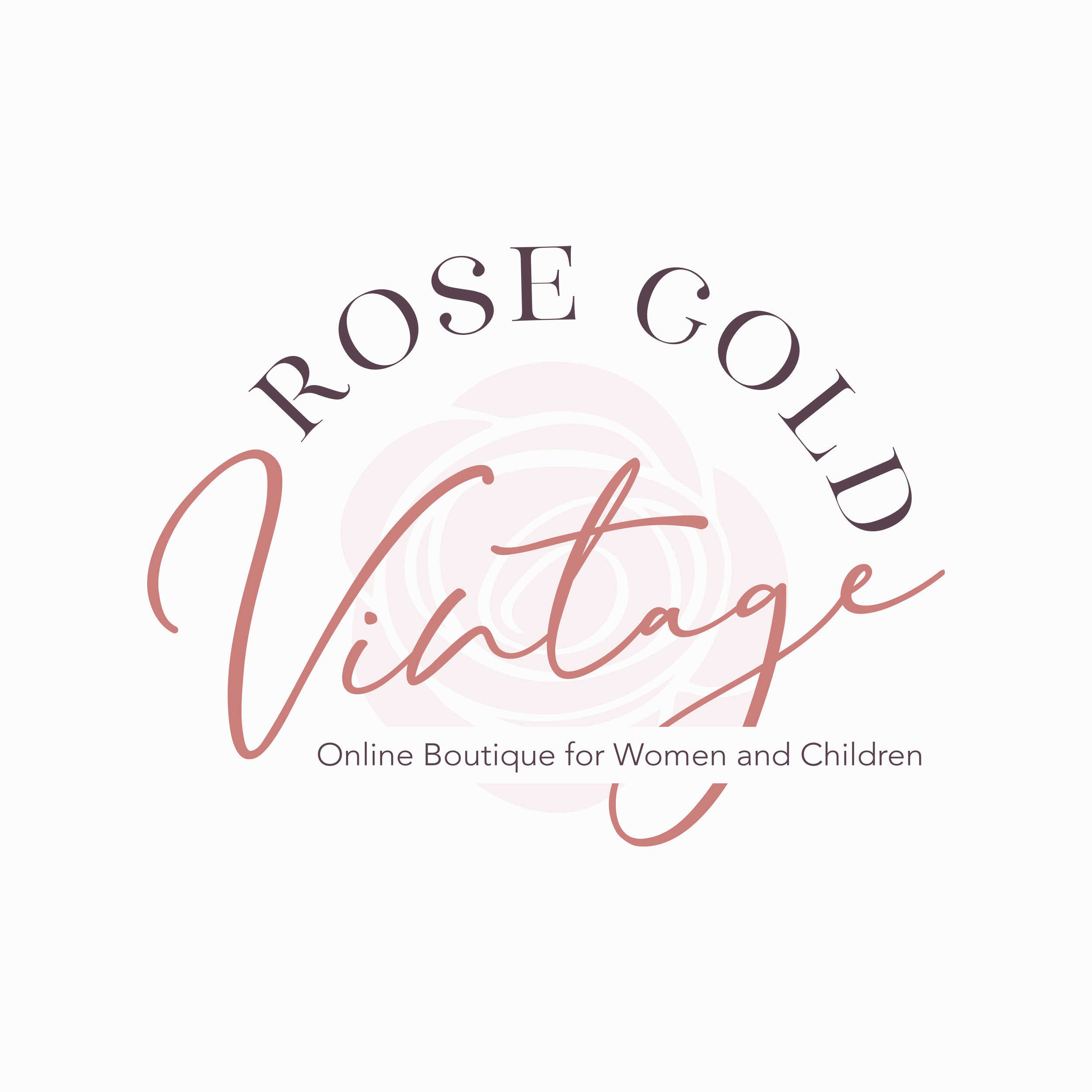 Rose Gold Vintage Branding Concept (Personal)  Rose Gold Vintage is a online boutique that sells clothing and accessories for women and children. There is a lack of a professional brand appearance and with that my main goal was to bring Rose Gold Vintage to the forefront of 2019 with fresh modern branding.