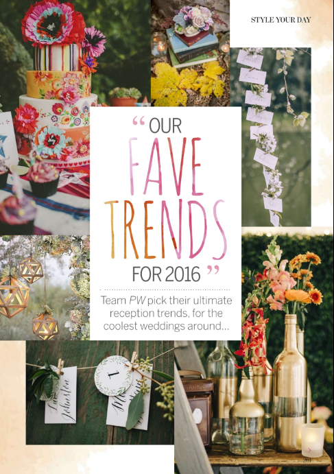 Mimolo featured as a 'Fave Trend for 2016' in Perfect Wedding Magazine's September issue.