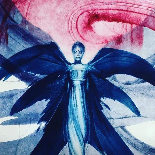 The Archangel of Democracy on the rise again #democracy #monoprint #archangel #harmonicart #spiritualart