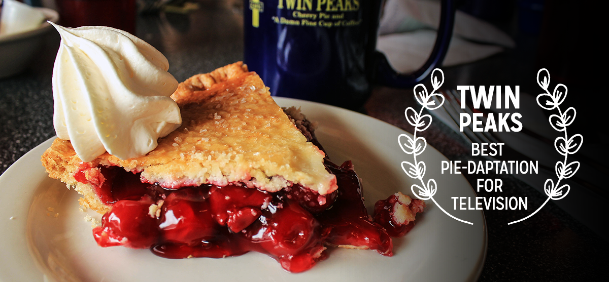 """Twede's Cafe —Twin Peaks     As a nod to this small screen, soon-to-be silver screen starlet, Twede's cherry pie from Twin Peaks   continues to go great with a """"damn fine cup of coffee""""!"""