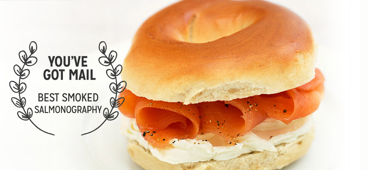 Zabar's —You've Got Mail      Meg Ryan may have been zigzagging through this iconic Upper West Side gourmet grocery to avoid Tom Hanks in You've Got Mail   , but it's hard for anyone to avoid their freshly baked New York bagels and smoked salmon.
