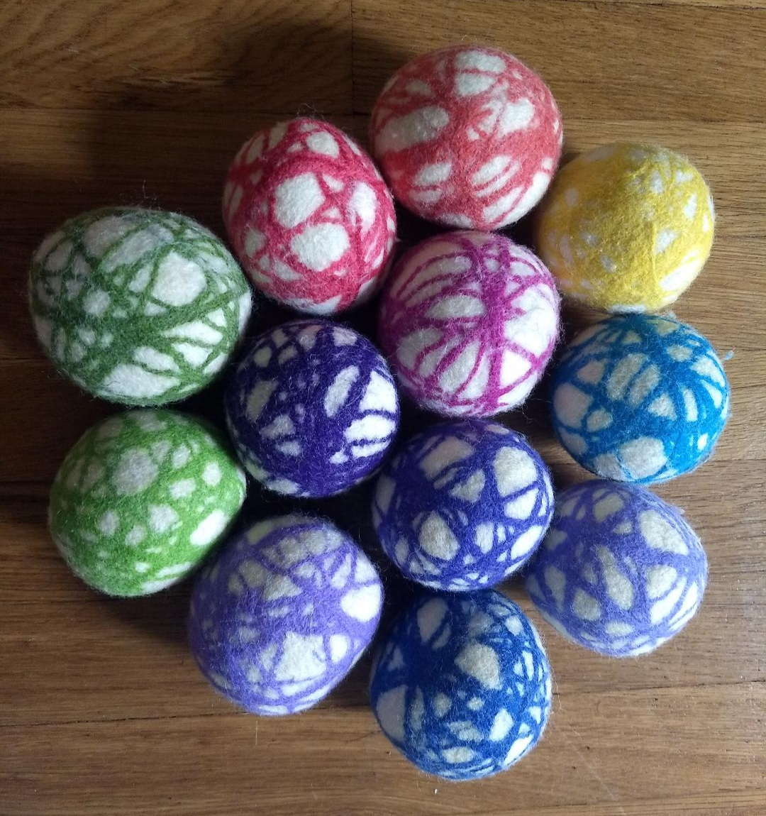 Felted wool dryer balls!  Soften your laundry naturally and cut down drying time with Felted Wool Dryer Balls.