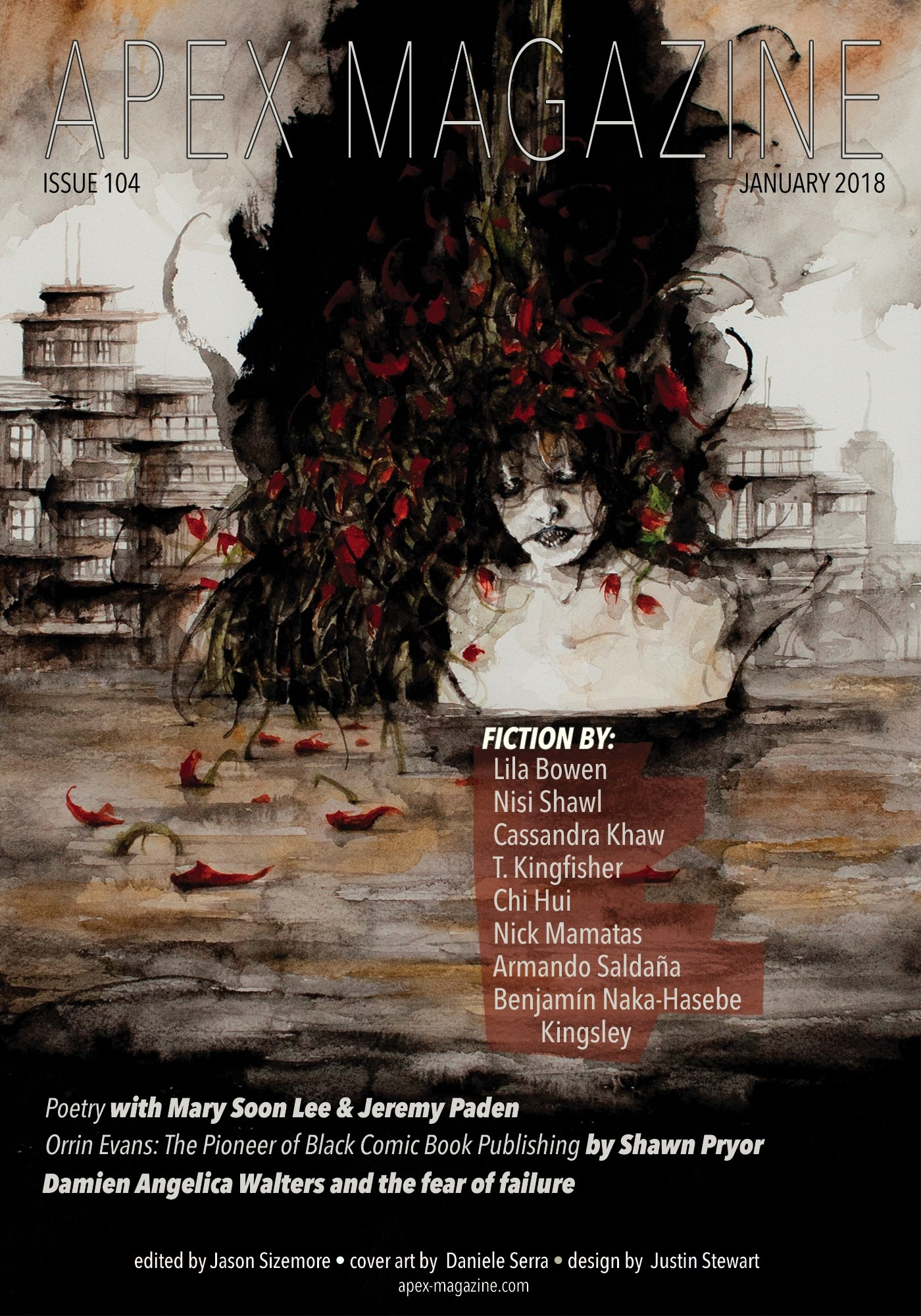 cover art by Daniele Serra https://www.apex-magazine.com/issue-104-january-2018/