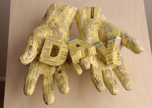 """DRY (a word in hands series)  12"""" x 12"""" x 50""""  Plaster, Xerox Paper Design, Wood, and Plexiglass"""