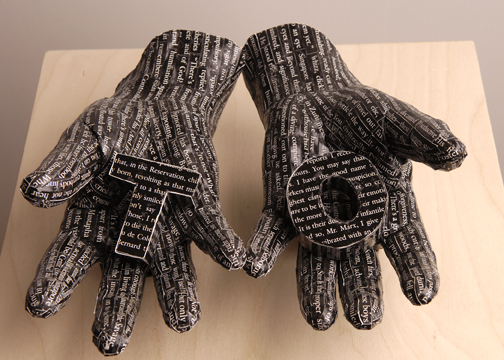 """TO (a word in hand series)  12"""" x 12"""" x 50""""  Plaster, Xerox Paper Design, Wood, and Plexiglass"""