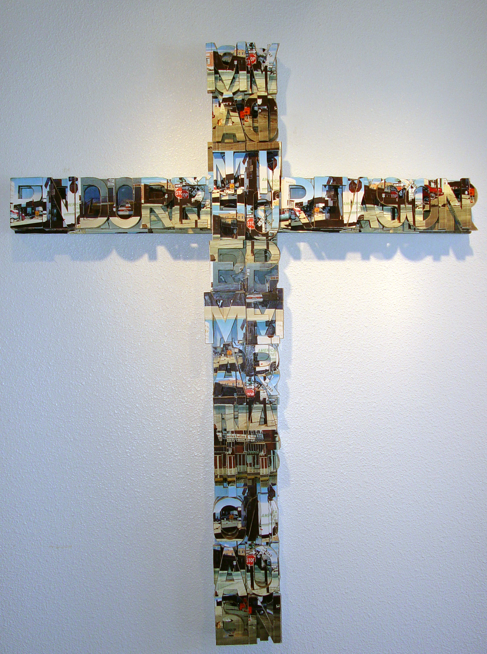 """Cross Roads  60"""" x 48"""" x 3""""  Wood, Xerox Paper Design  (Available in other Styles)"""