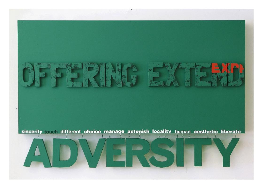 Adversity (hanging wall series), green  30'' x 48''  Mixed media