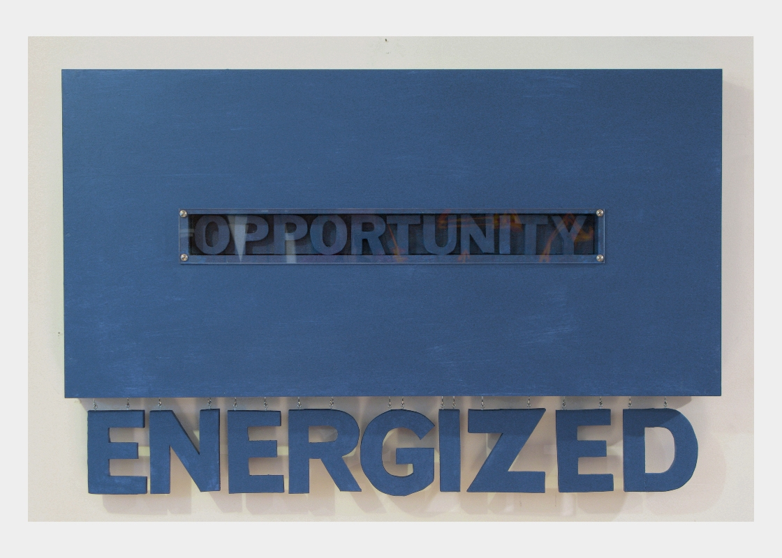 Energized (hanging wall series, blue)  30'' x 48''  Mixed media