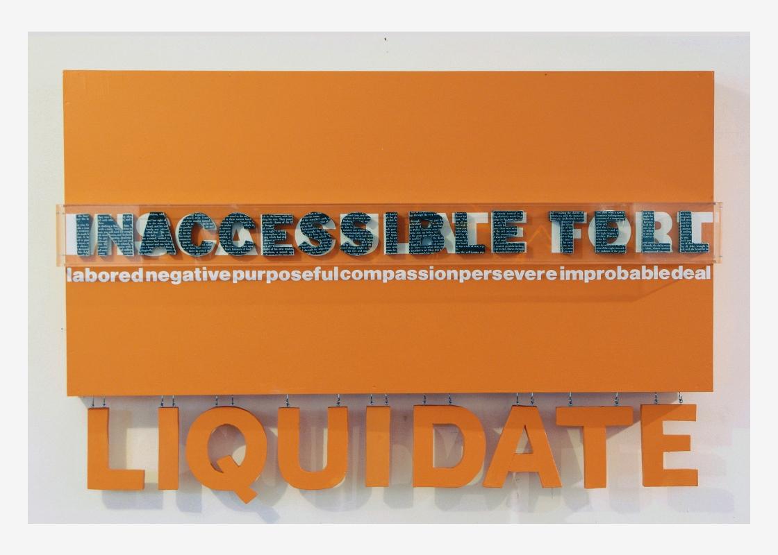 Liquidate (hanging wall series), yellow  30'' x 48''  Mixed media