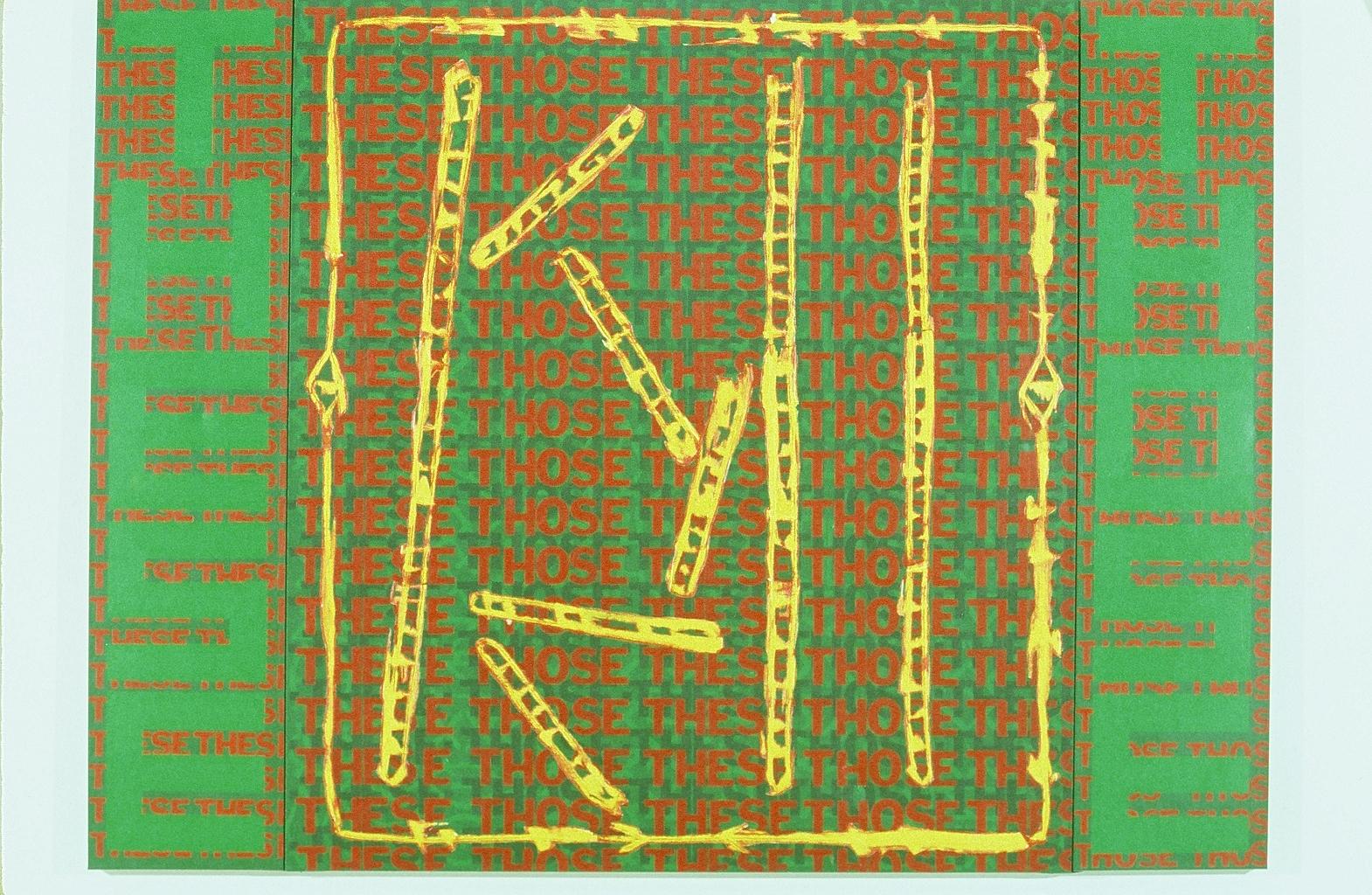 "These Those (Graffiti Series), 1992  72"" x 96""  Acrylic on canvas"