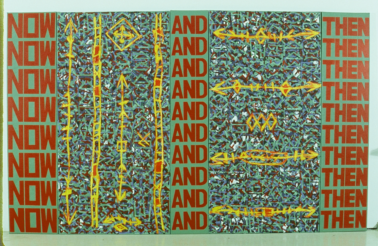 """Now & Then (arty fax series)  72"""" x 116"""" (5 panels)  Acrylic on canvas"""
