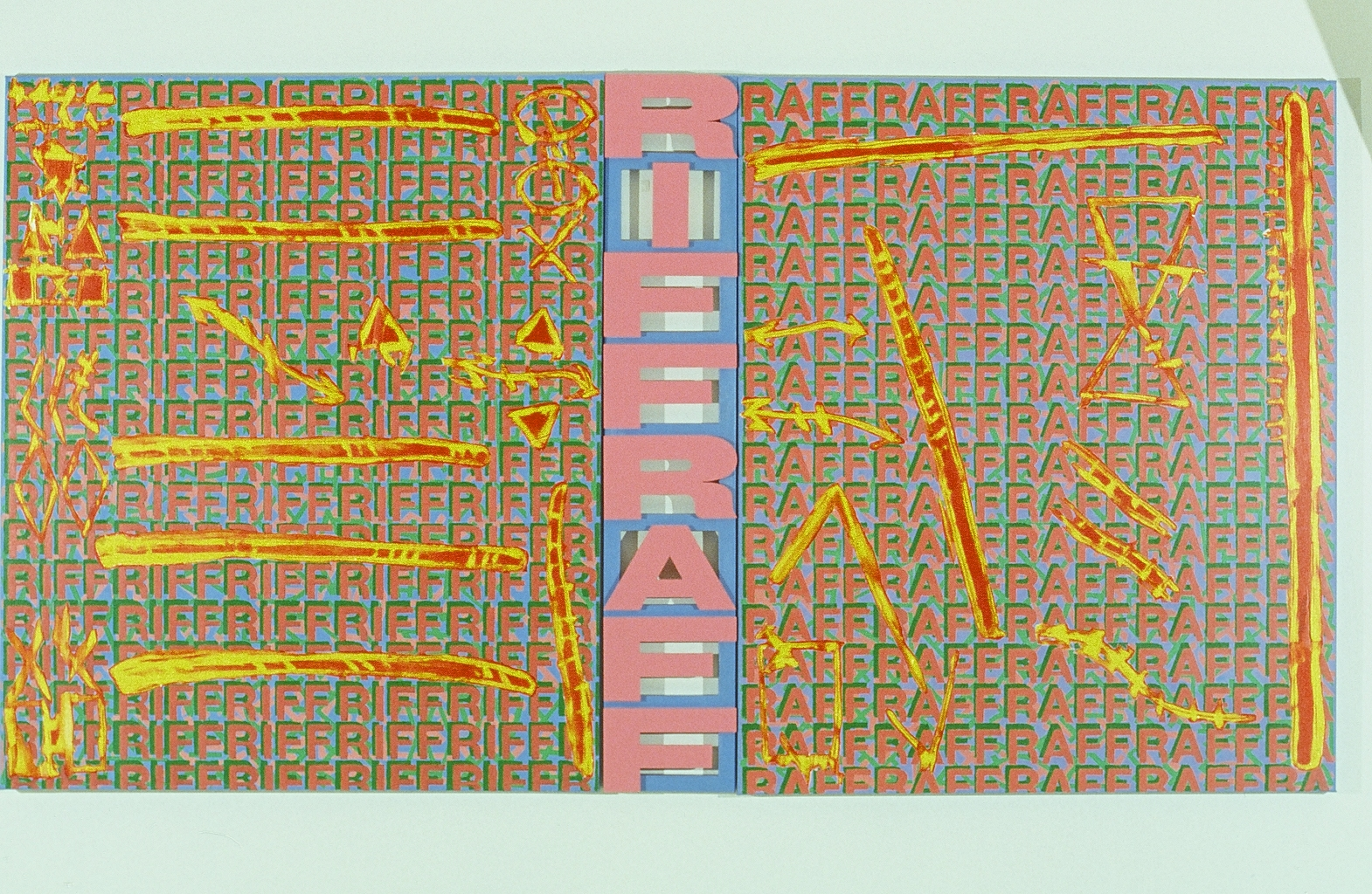 """Riff Raff (arty fax series)  60"""" x 120"""" (3 panels)  Wood and acrylic on canvas"""
