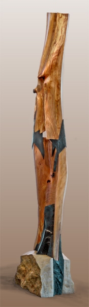 """Inward Out  Beech wood, limestone, soap stone, and steel  102"""" x 24"""" x 14"""""""