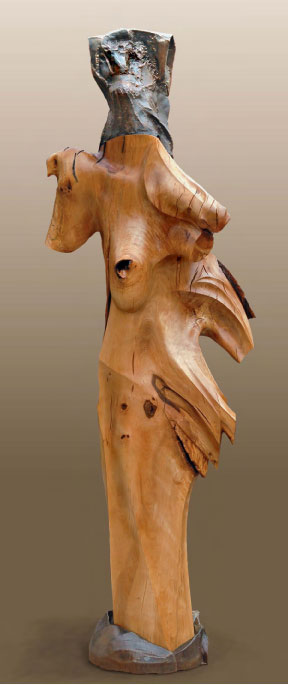 """Avatar for a Fifth Age  Elm, steel  90.75"""" x 28"""" x 27"""""""