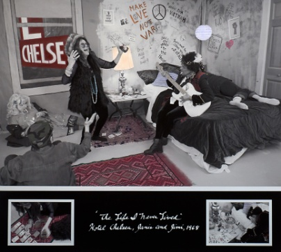 """Janis and Jimi at the Hotel Chelsea, 1968 from the """"Life I Never Lived"""" Series  Archival carbon pigment print  36"""" x 40"""""""