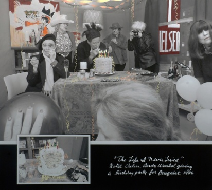 """Andy Warhol Giving a Birthday Party for Basquiat at the Hotel Chelsea, 1986 from the """"Life I Never Lived"""" Series  Archival carbon pigment print  36"""" x 40"""""""