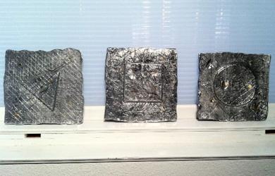 "Bill Vielehr  Aluminum Triptych 12"" x 12"""